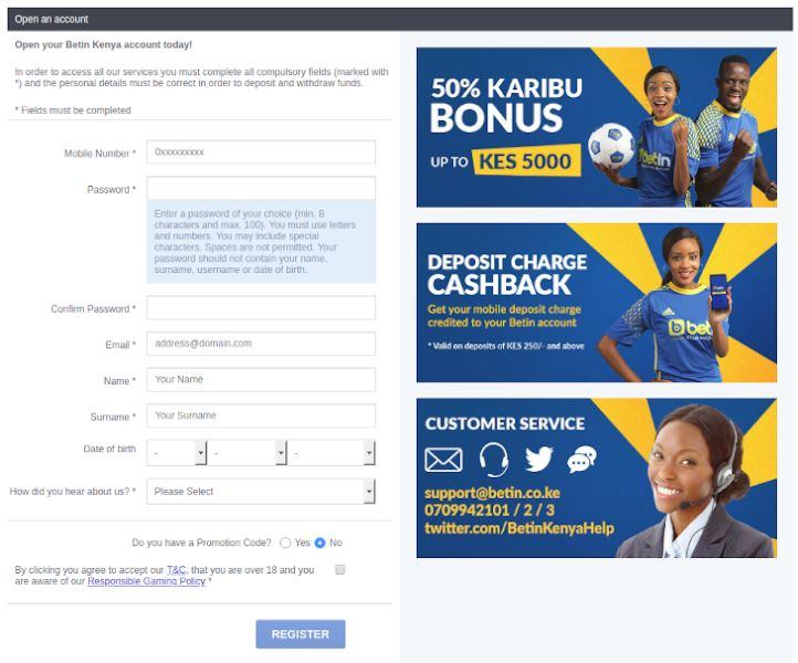 Opening an Account at Betin Kenya